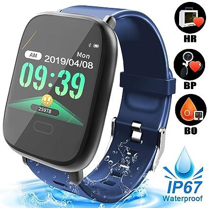 Fitness Tracker Smart Watch for Men Women, Waterproof Smartwatch with Heart Rate Blood Pressure Blood Oxygen Monitor Sport Outdoors Activity Tracker ...