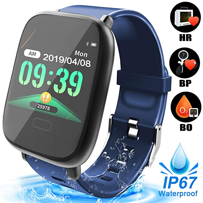 Fitness Tracker Smart Watch for Men Women, Waterproof Smartwatch with Heart Rate Blood Pressure Blood Oxygen Monitor Outdoors Sport Activity Tracker ...