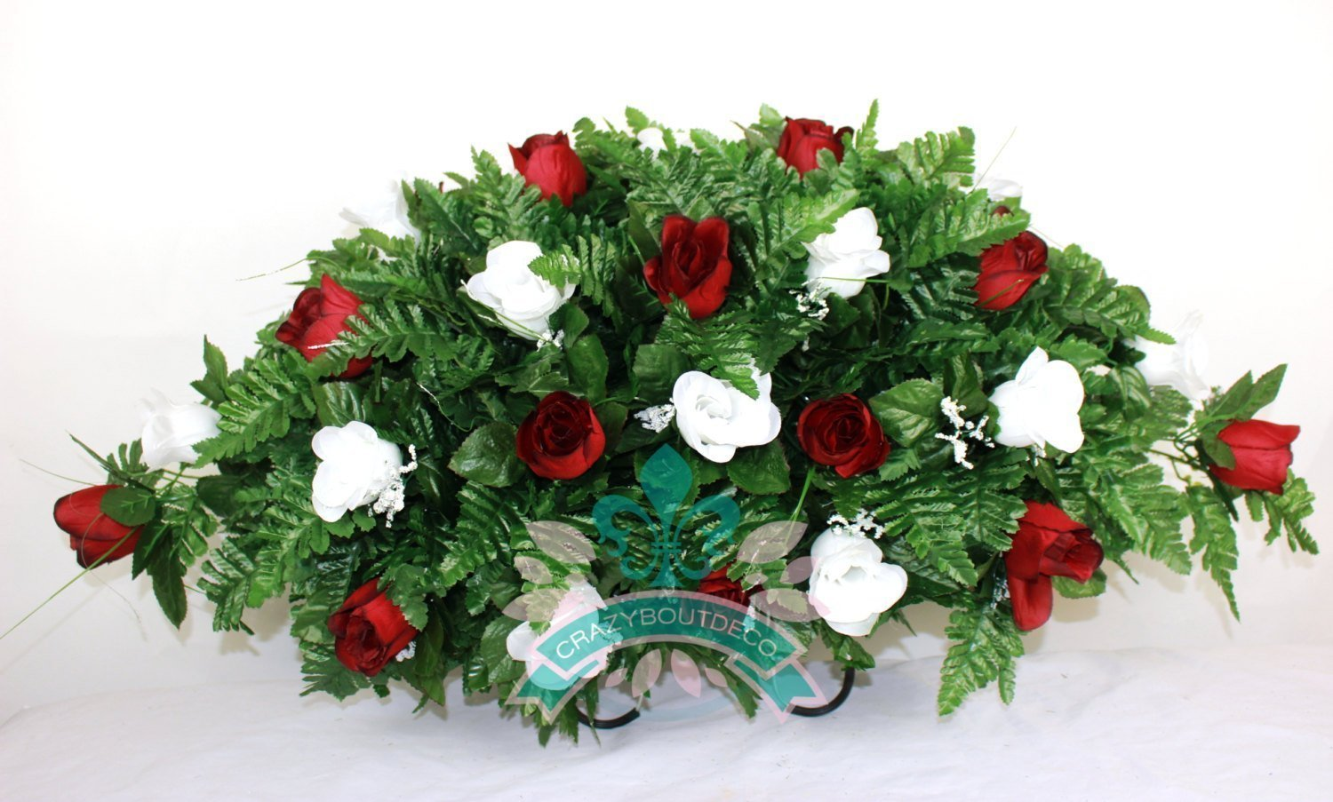 Crazyboutdeco-XL-Red-and-White-Roses-Silk-Flower-Cemetery-Tombstone-Saddle-Arrangement