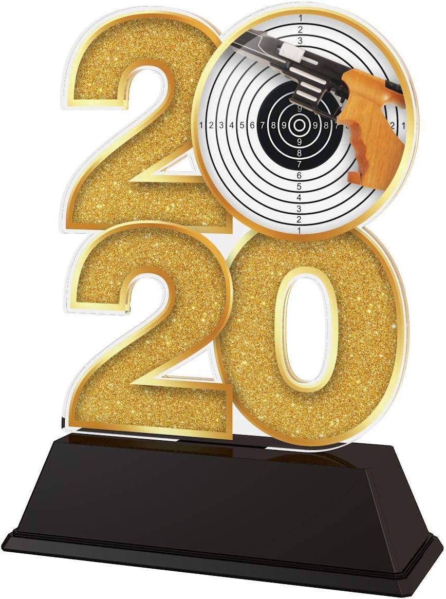 Trophy Monster 2020 - Trofeo de Tiro de Pistola, Premio Oro, Plata o Bronce, Hecho de acrílico Impreso, 120 mm
