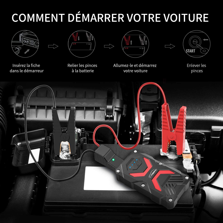 YABER Booster Batterie Jusqu/à 6.0L Essence 5.0L Gazole avec Lamp LED 1000A 13800mAh Booster Batterie Voiture Moto