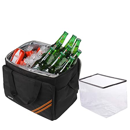 HANIC 30L Large Cooler Bag Soft Cooler Insulated Leakproof Collapsible Soft Sided Coolers Cooler Bags Travel Bag for Outdoor Travelling Long Shifts Work Hiking Beach Picnic Camping BBQ Party Black