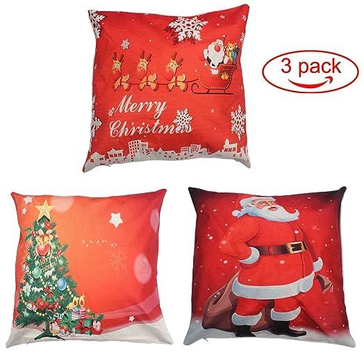 Merry Christmas Throw Pillow Cover 3 Pack edealing Cotton Linen