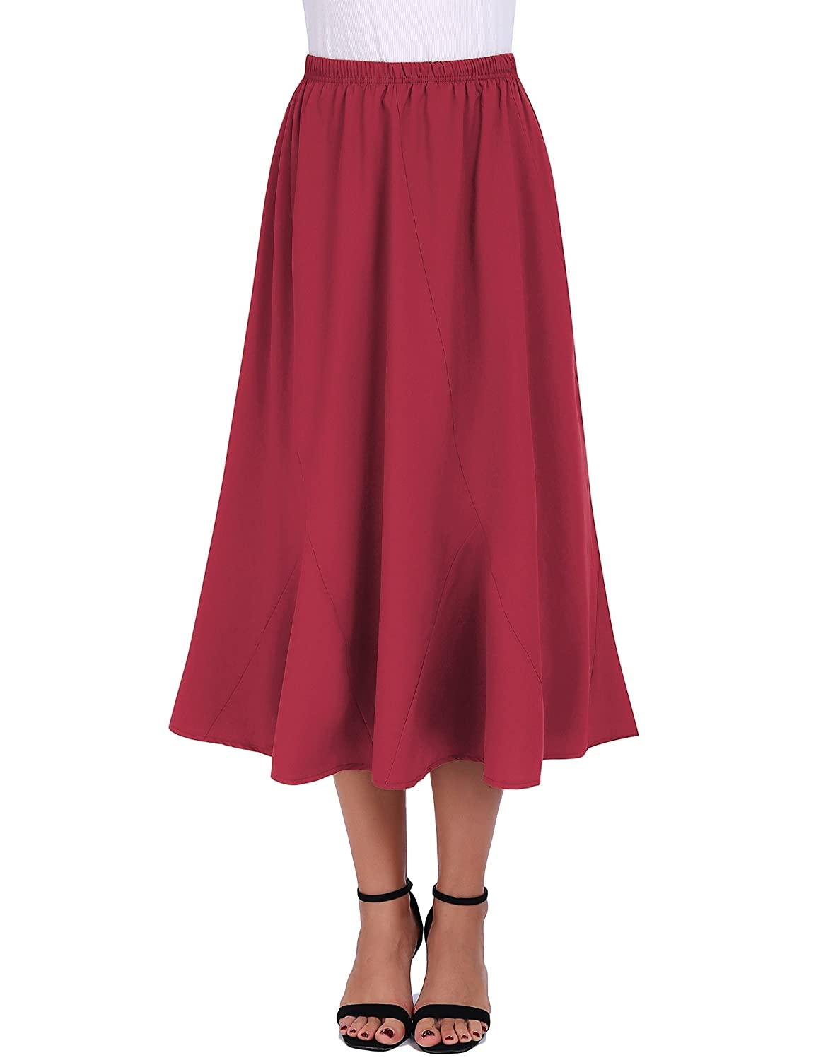 FISOUL Women Vintage Elastic Waist Skirts Casual Blow Knee Length Flared A-Line Pleated Long Skirts