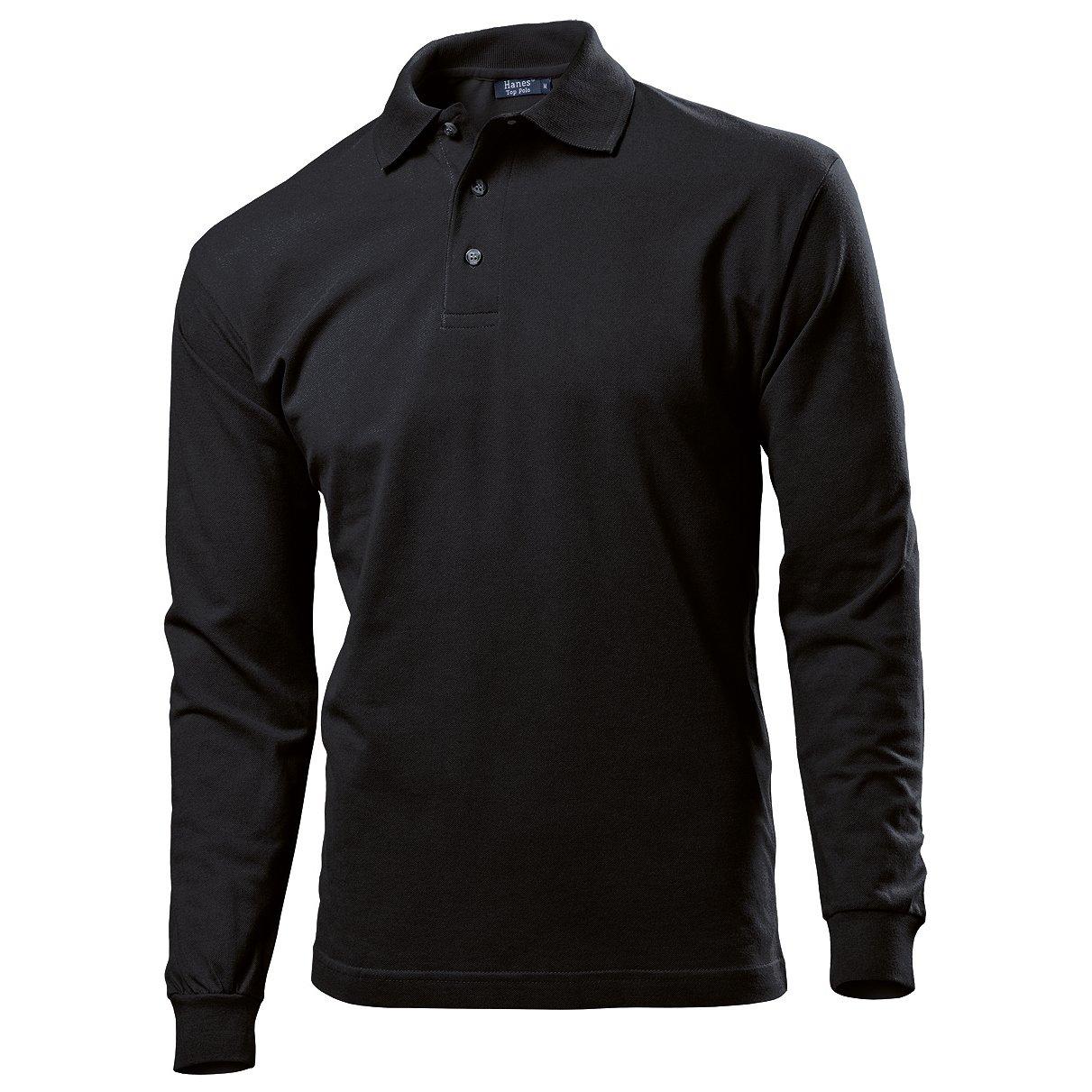 Black t shirt hanes - Hanes Mens Long Sleeve Top Plain Polo Shirt S Black At Amazon Men S Clothing Store