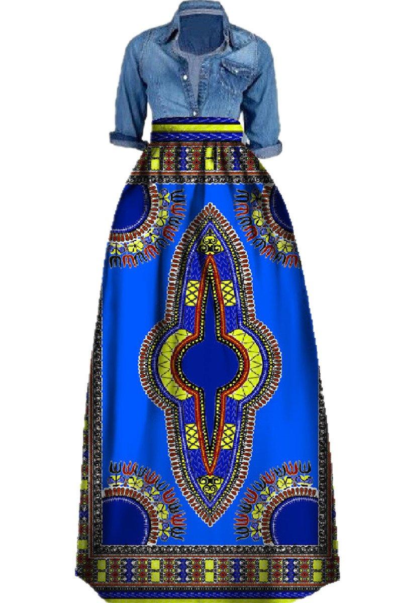 Huiyuzhi Womens African Print Skirts Long Maxi Skirt Dashiki Ball