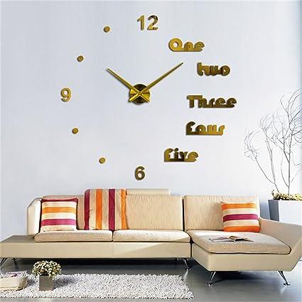 Reloj de pared 3d grande moderno DIY Decoración para el hogar adhesivo sin marco para salón