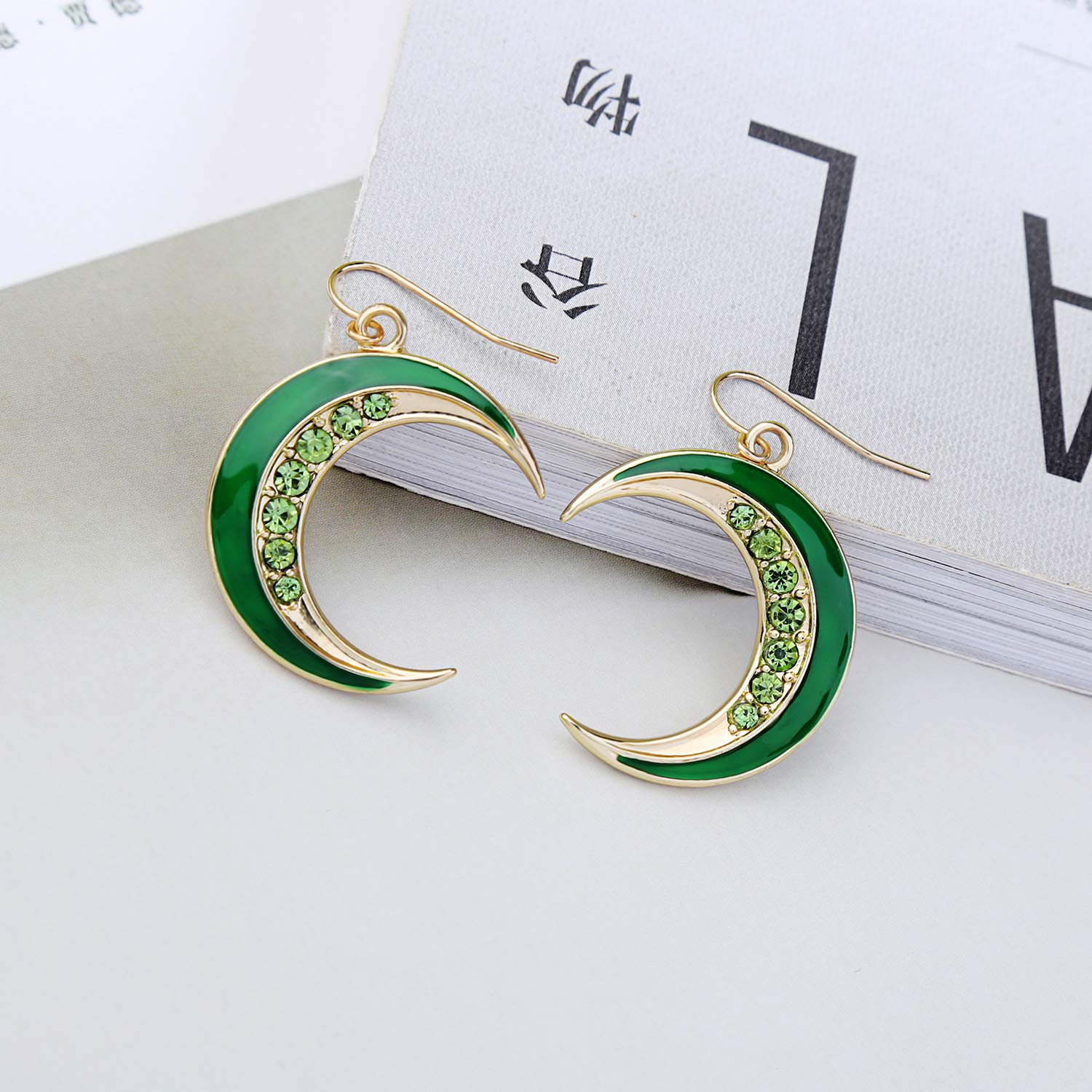 Miss Kiss Colorful Crystal Gold Earrings Half Moon Earrings for Women and Girls Statement Drop Earrings Jewelry for Wedding Gifts ED01601c