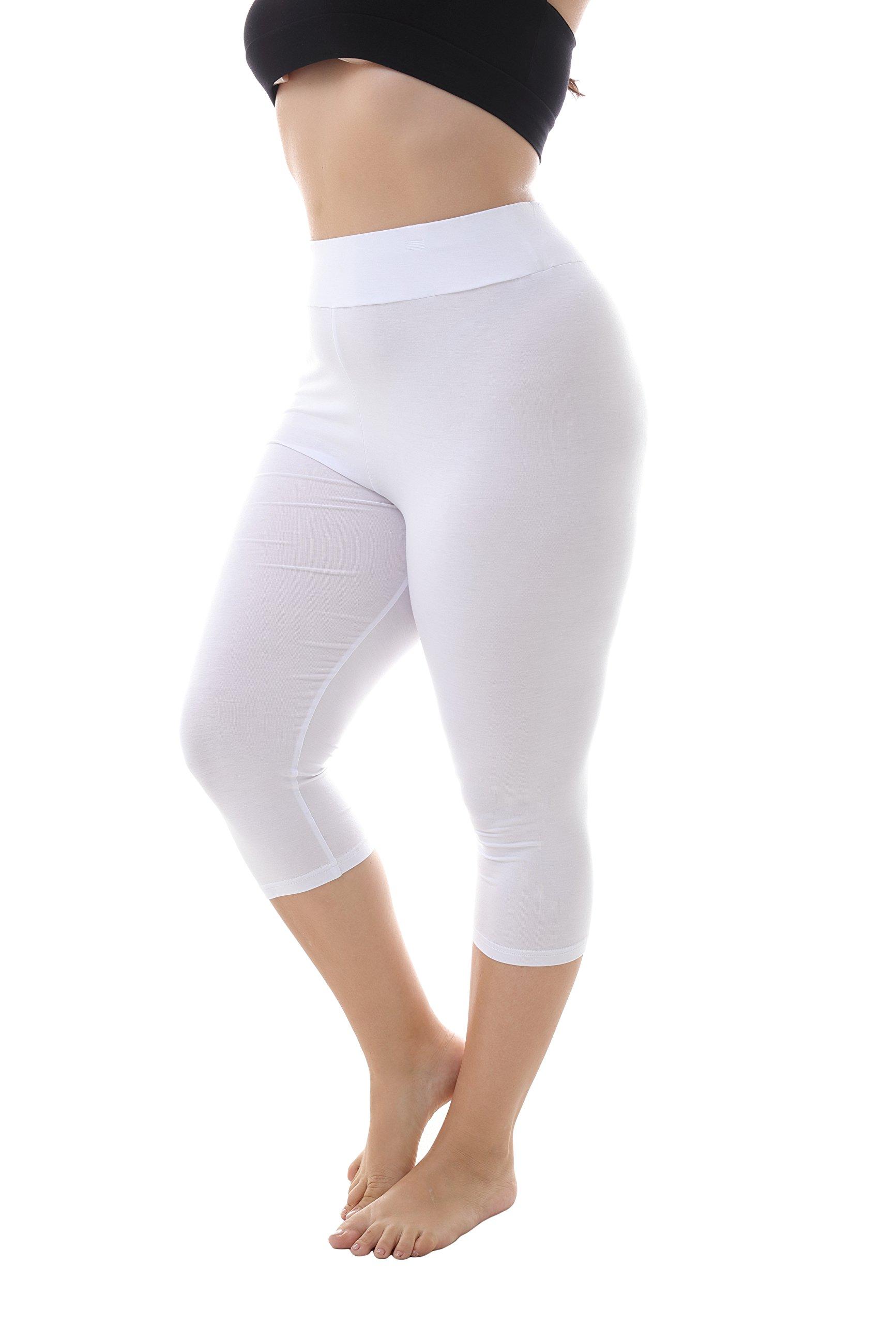 ZERDOCEAN Women's Plus Size Modal High Waist Capri Leggings for Summer White 2X