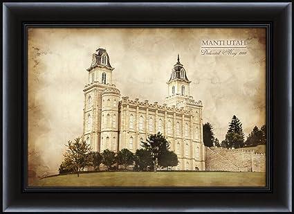Amazon.com: LDS (Mormon) 15 x 20 Framed Vintage Manti Temple LDS ...
