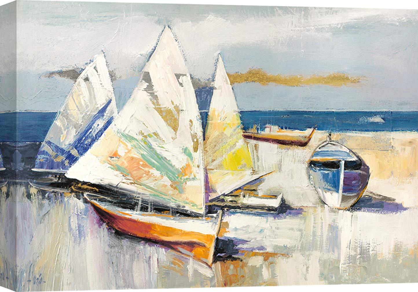 Art Print Cafe 60x40 cm Paesaggio Marino Luigi Florio Stampa su Tela Quadro Moderno Barche sulla Spiaggia