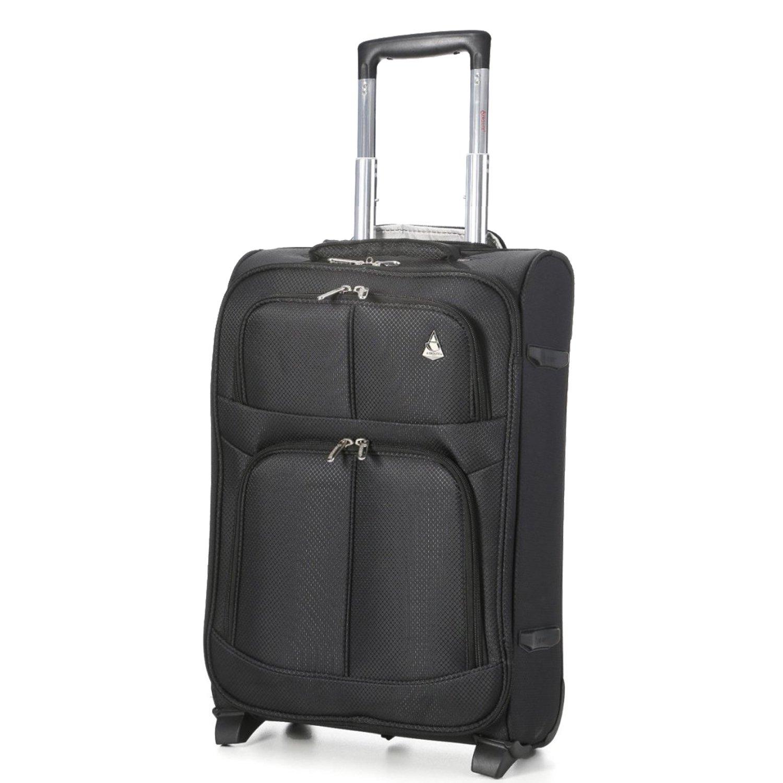 55x35x20 IATA Maximum Approved Size Trolley Carry On Hand Cabin Luggage Suitcase Black Aerolite AERO9613 BLACK 21