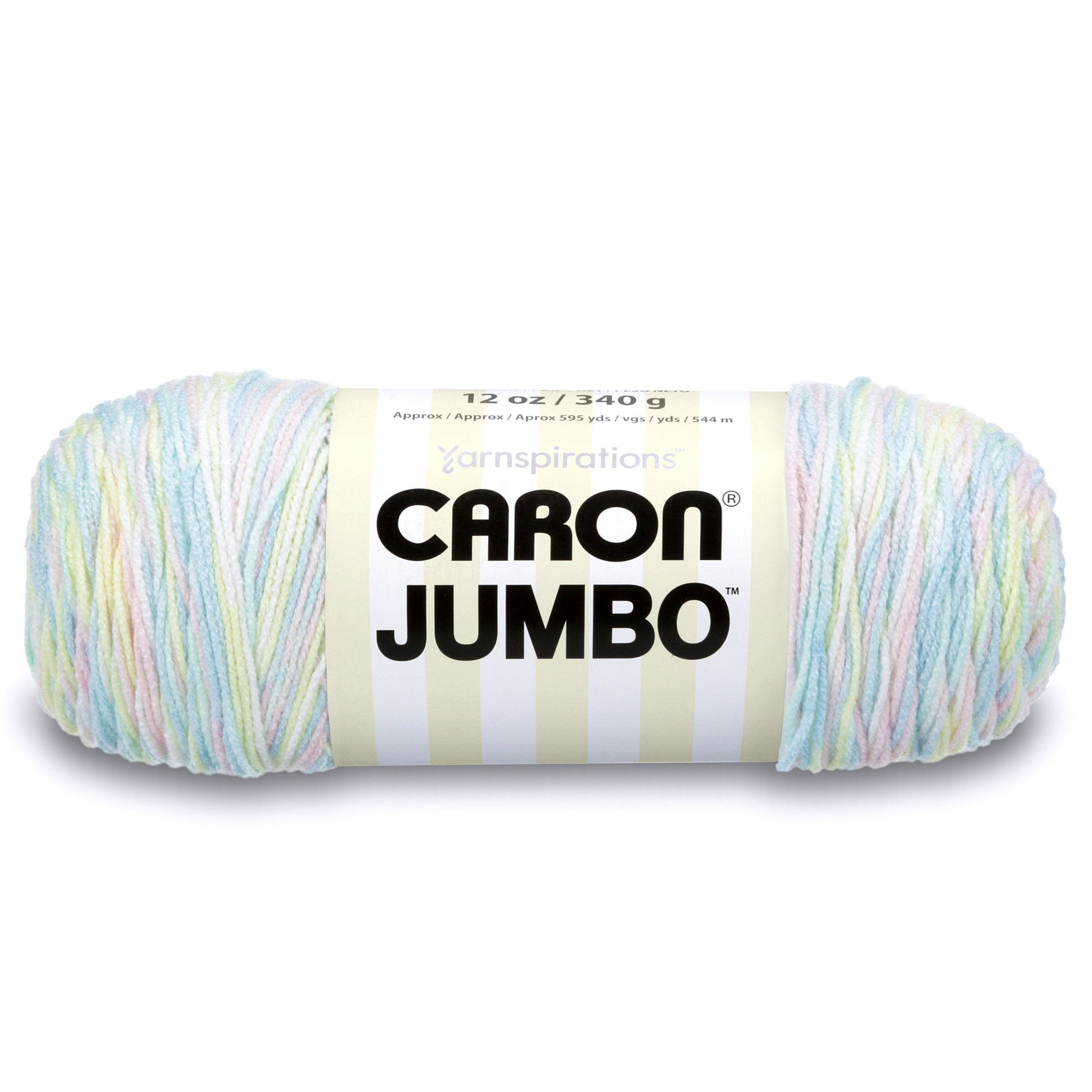 Caron Jumbo Ombre Yarn, 12 oz, Baby Rainbow, 1 Ball
