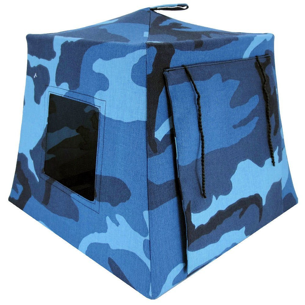 Toy Play Pop Up Tent, 2 Sleeping Bags, Blue and Black Camouflage Print Fabric