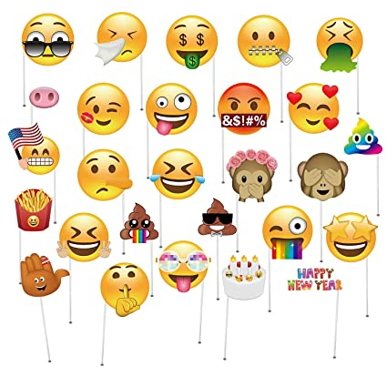Oululu Emoji Photo Booth Props - Emoji Faces Kits for Reunions Party (27  Pieces, Big Size)