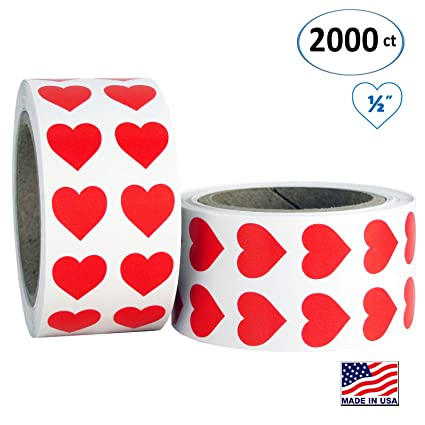 Red Heart Shaped Sticker Labels, 1/2