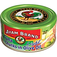 Ayam Brand Tuna Chunks in Extra Virgin Olive Oil Light | 30% Reduced Fat | Wild Caught Premium Tuna | Omega 3, Vitamin…