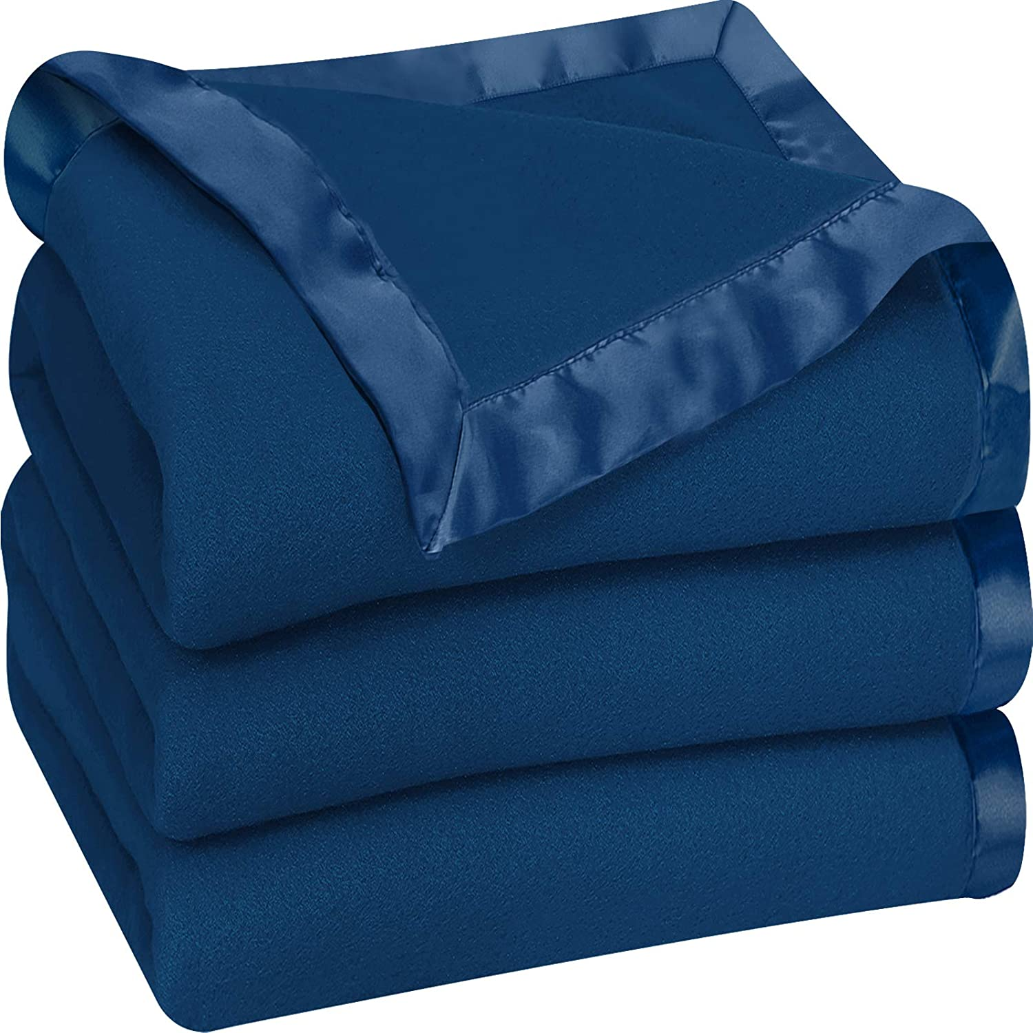 Utopia Bedding Fleece Blanket Twin Size Navy Soft Cozy Sateen Bed Blanket Microfiber