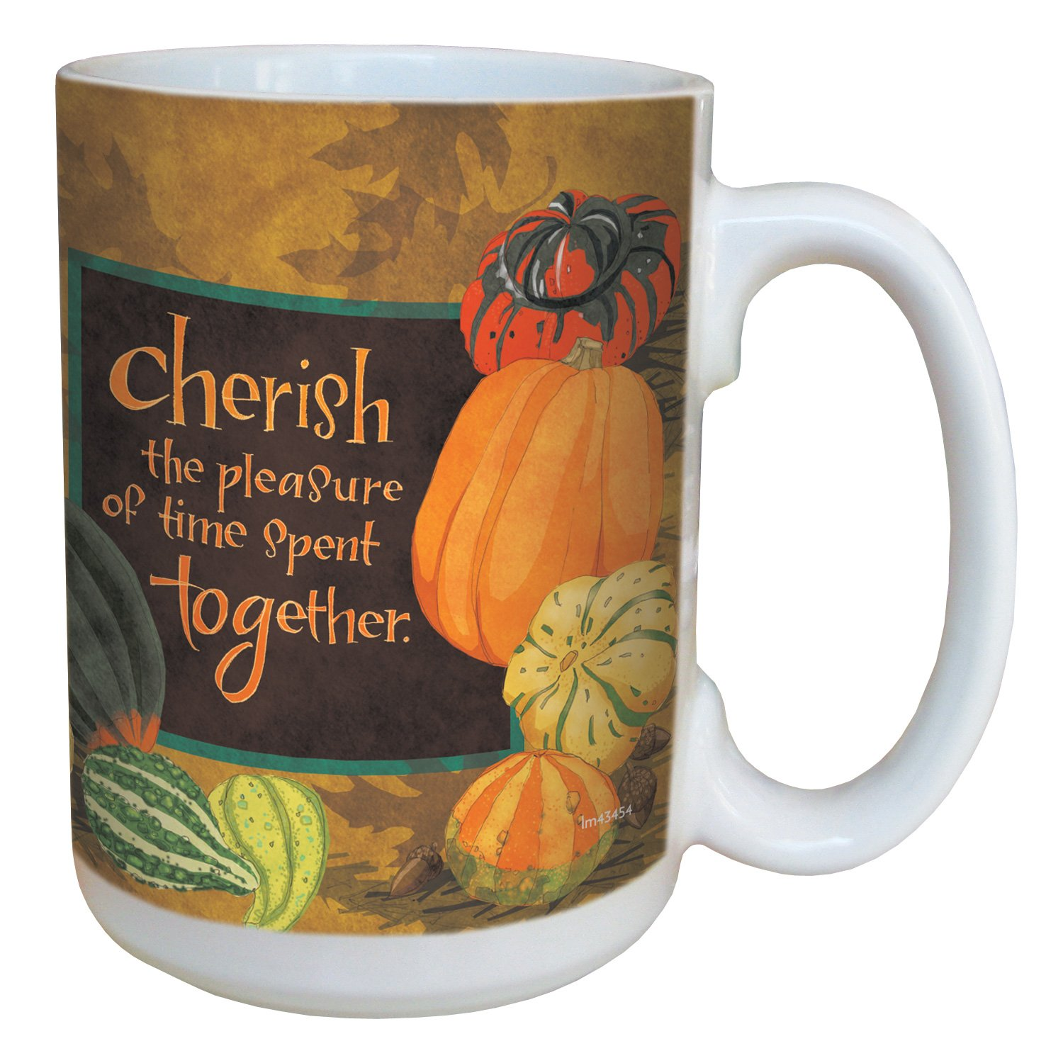 Tree-Free Greetings lm43454 Fall Cherish Gourds by Robin Pickens Ceramic Mug with Full-Sized Handle 15-Ounce