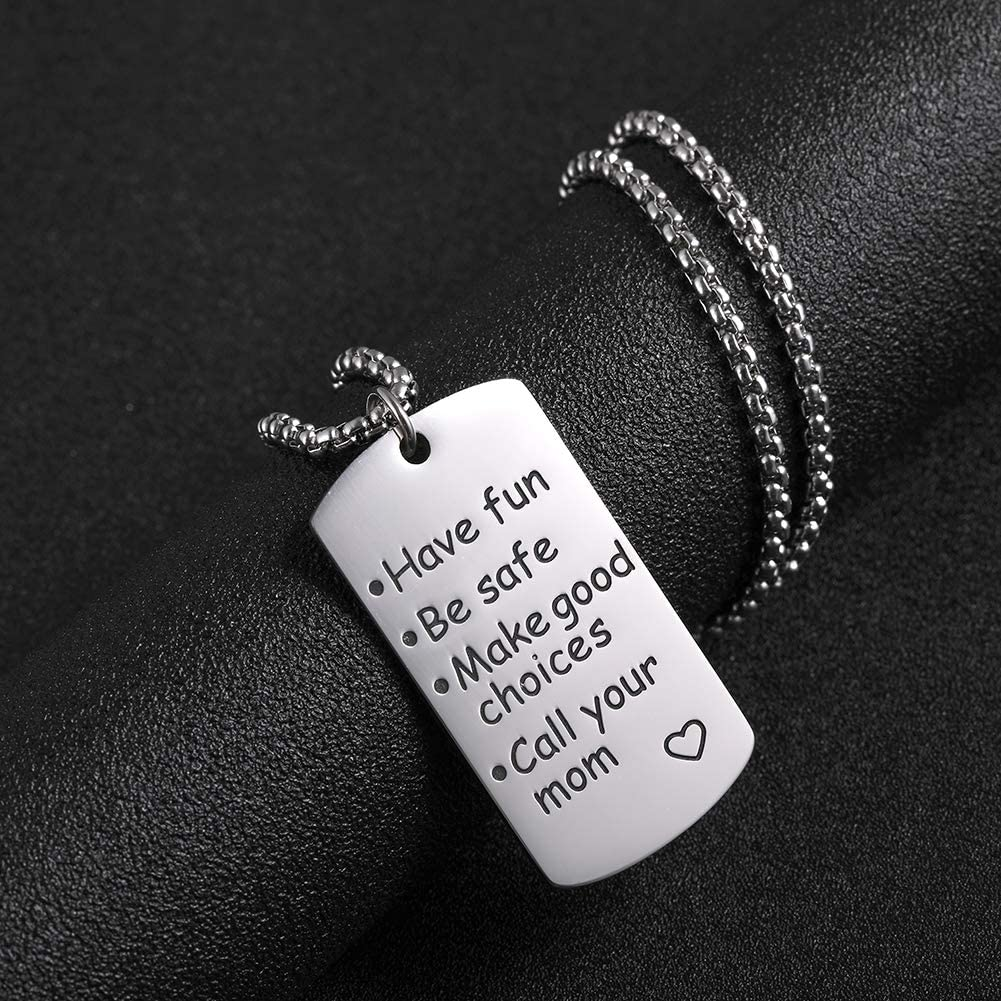 VASSAGO Stainless Steel Engraved Love Words Have Fun Be Safe Make Good Choices Call Your MOM Dog Tag Pendant Necklace Personalized Graduation Birthday for Son and Daughter