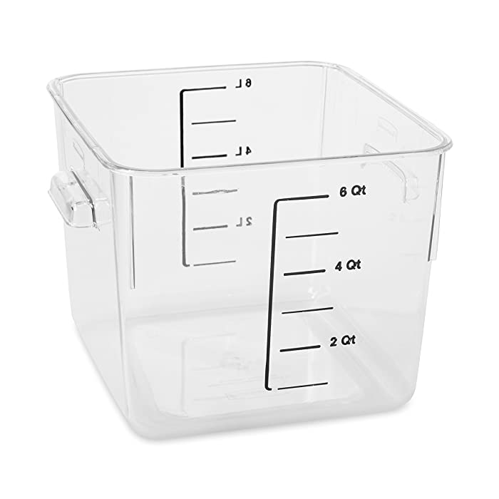 Rubbermaid Commercial Products Plastic Space Saving Square Food Storage Container for Kitchen/Sous Vide/Food Prep, 6 Quart, Clear (FG630600CLR)