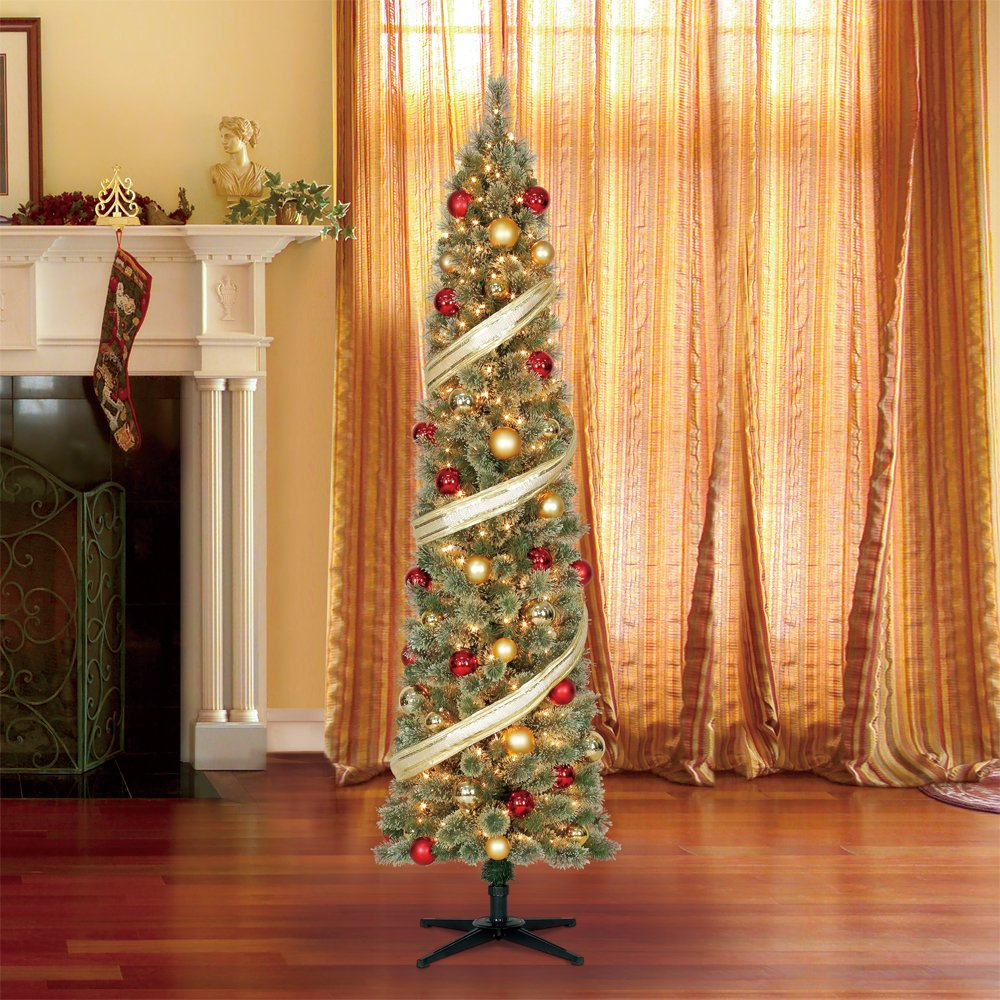 Home Heritage Stanley 7' Pencil Artificial Pine Slim Christmas Tree with Lights by Home Heritage (Image #3)