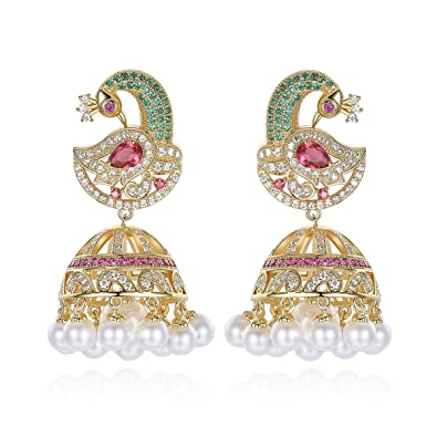 630f416bc Buy Swasti Jewels Peacock Shaped CZ Fashion Jewellery Traditional Ethnic  Pearls Jhumka Earrings for Women Online at Low Prices in India | Amazon  Jewellery ...