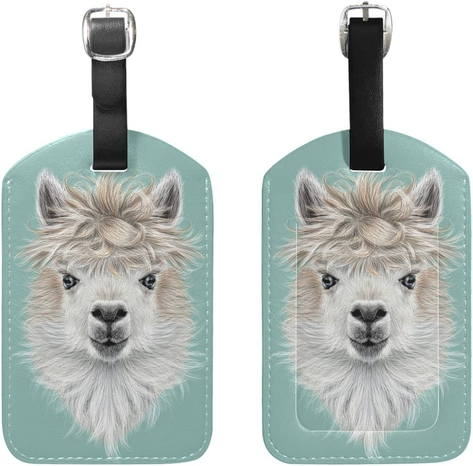 Chen Miranda Llama Travel Luggage Suitcase Label ID Tag PU Leather for Baggage Bag 1 Piece