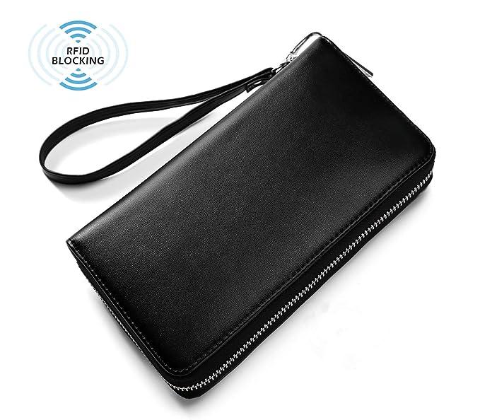 c9ed7500c6b5 RFID Waterproof Genuine Leather Credit Card Holder Phone Wallet for Women  or Men