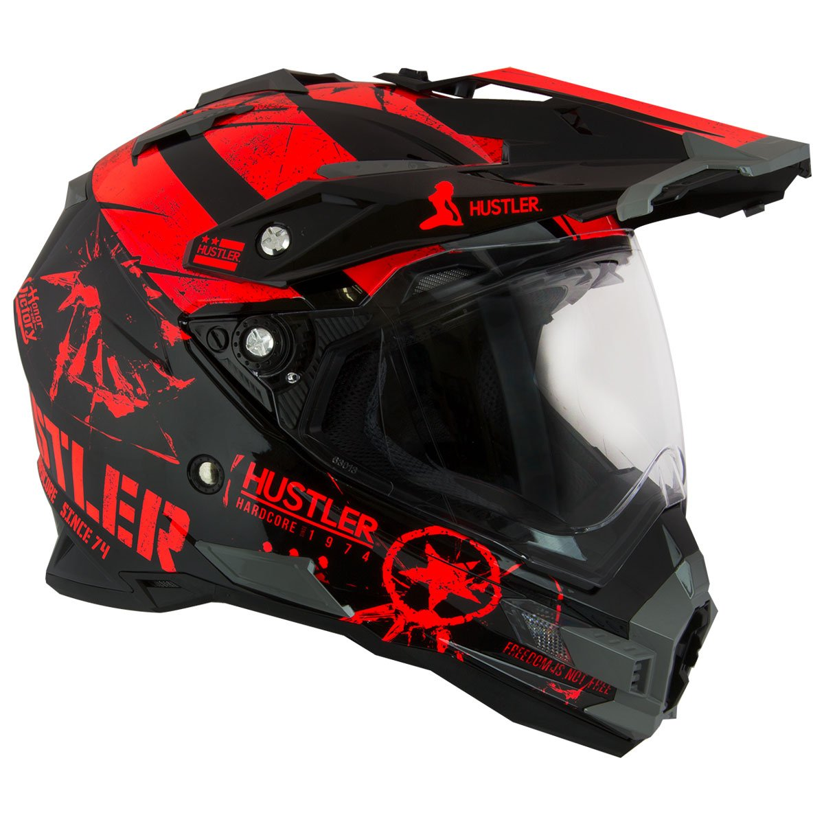 Hustler Hardcore Since 1974 Dual Sport Red And Black Gloss Motorcycle Helmet - X-Large by Hustler (Image #1)