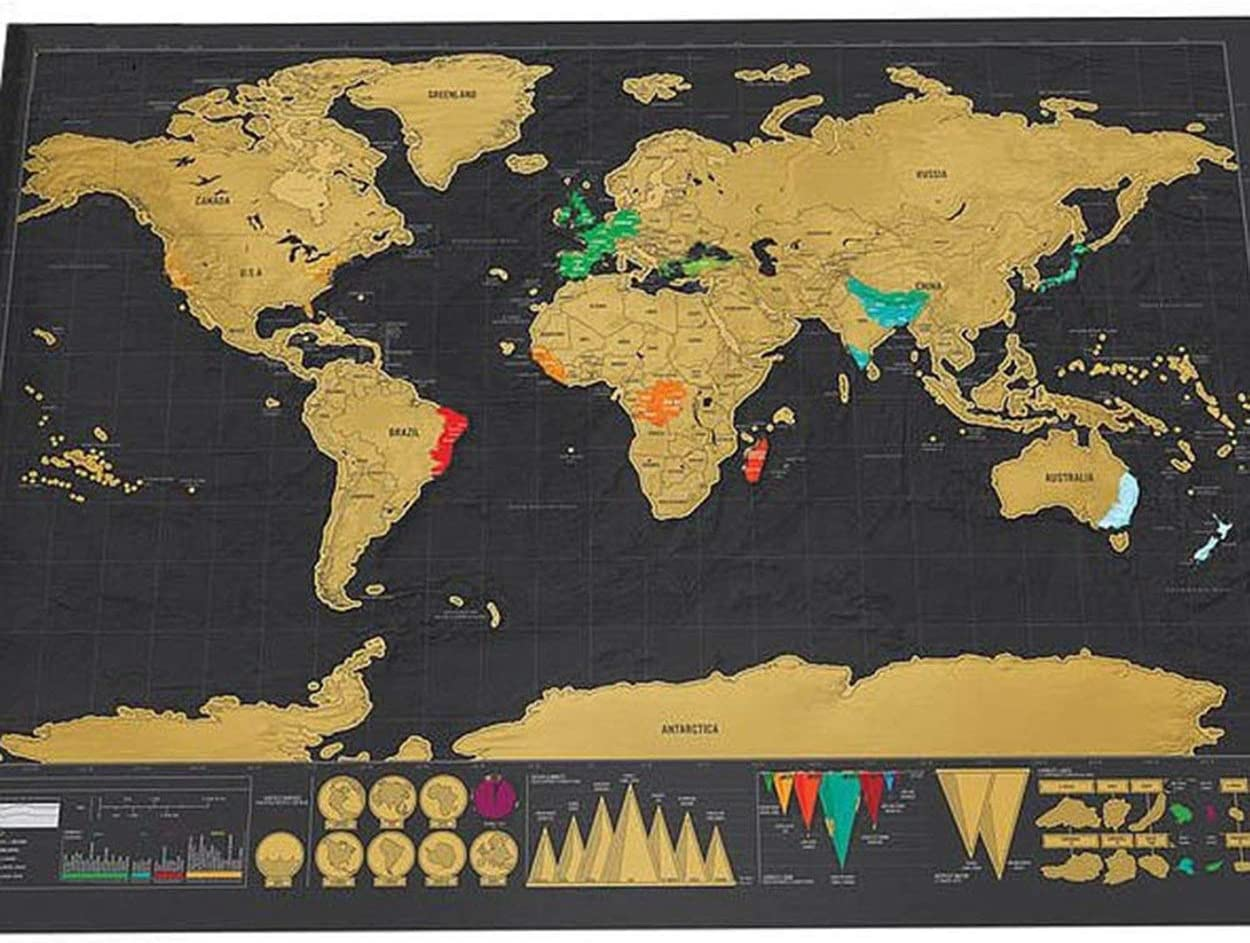 Caroline Philipson Unique World Travel Map Black Deluxe Map Wall Decoration Travel Edition Scratch Off World Map Poster