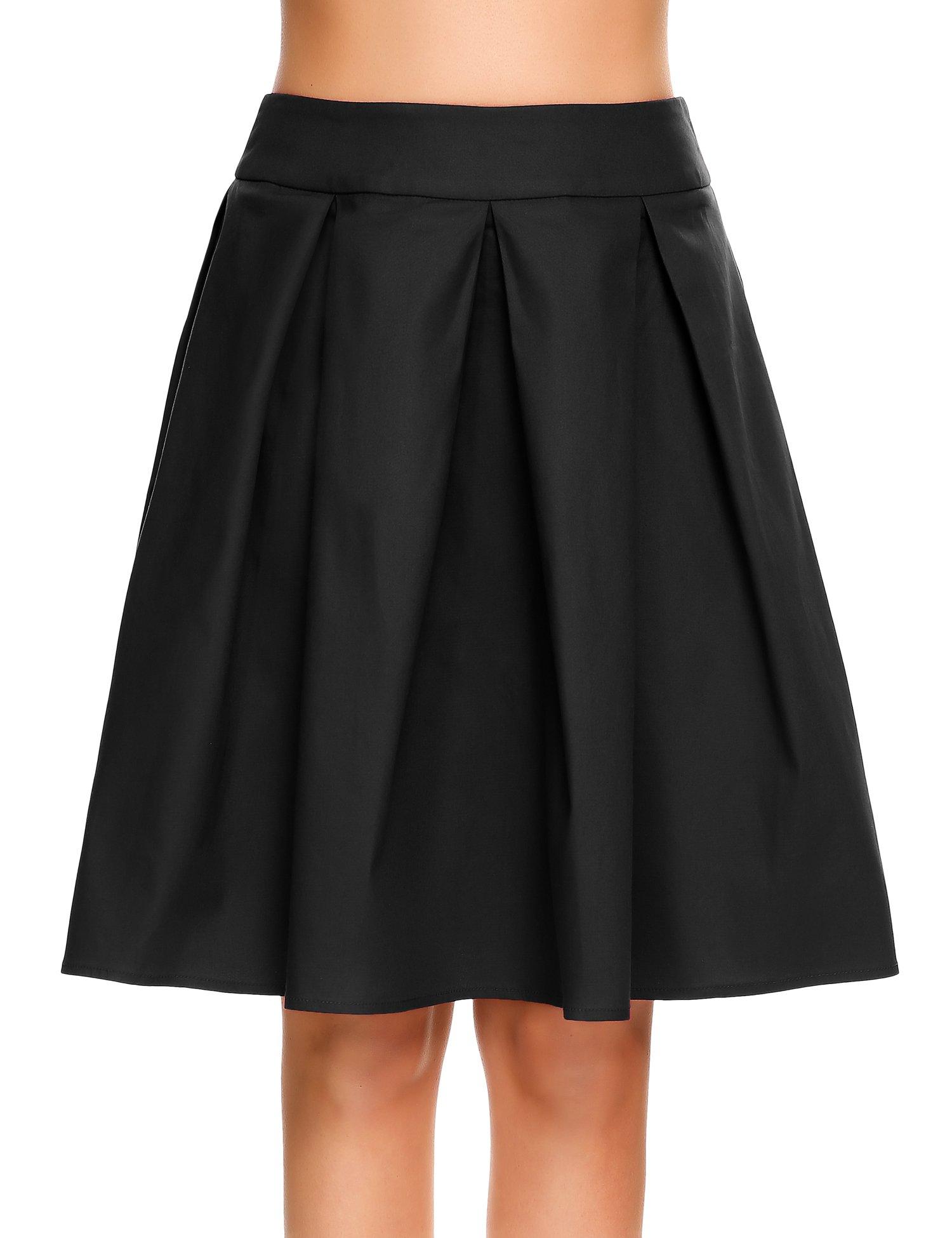 Zeagoo Women's New Vintage Style High Waist A-line Skirt Casual Party Beach Midi Skirt Black X-Large