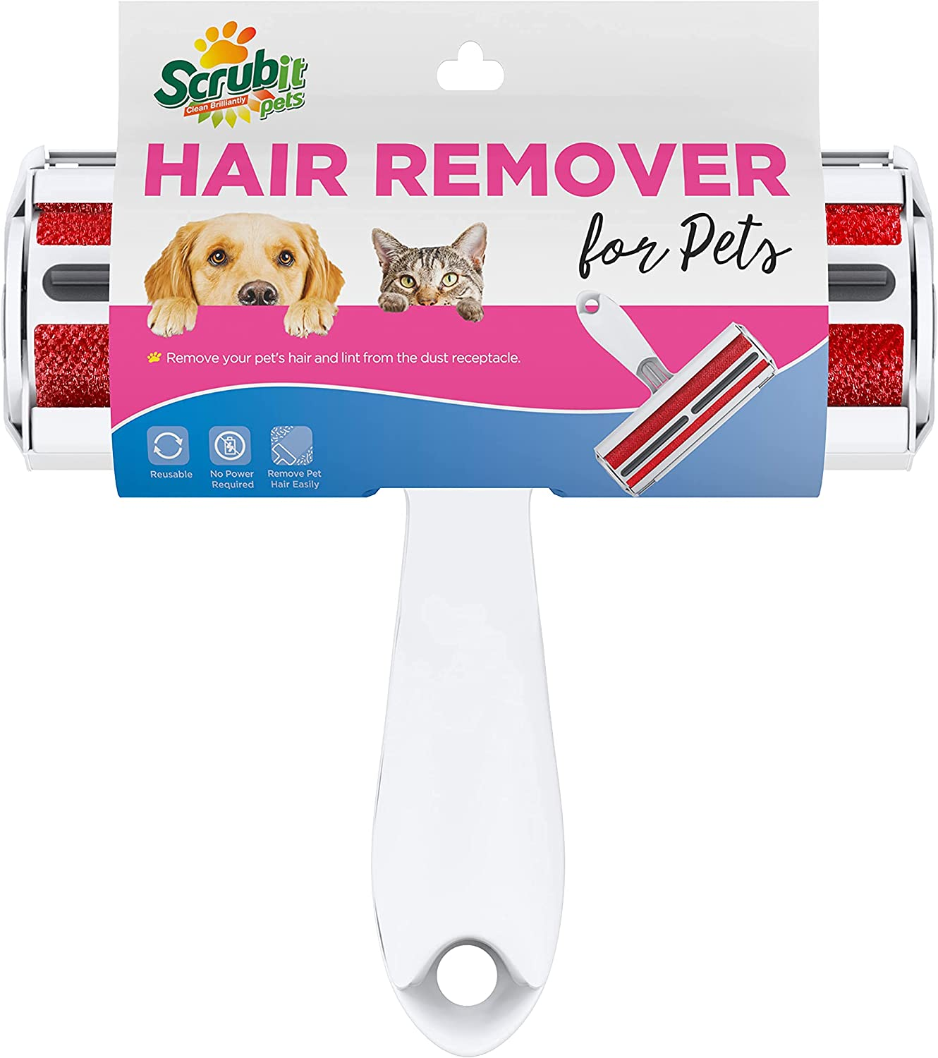 SCRUBIT Pet Hair Remover - Dog & Cat Roller Brush with Built-in Waste Bin - Reusable Animal Lint Removal Tool - Cleans Couch, Beds, Sofas, Cars, and Furniture from Pet Fur and Lint : Pet Supplies