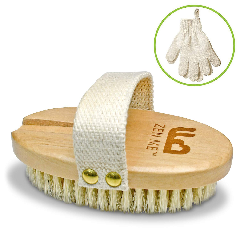 Körperbürste mit Naturborsten + Peeling Handschuhe | Ideal für trockene Haut und Verbesserung von Durchblutung und Lymphdrainage | Massage Trockenbürste für Hautstraffung bei Cellulite | natürliche Hautpflege einpflegen DC11 Enterprises Ltd