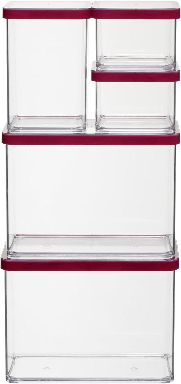 Rotho Premium Loft Juego de 5 frascos de almacenamiento, de ...