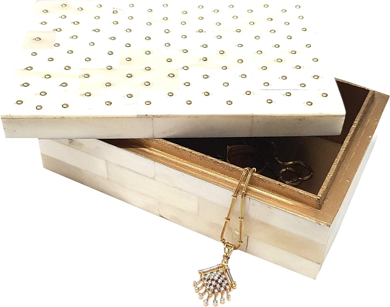 Amazon Com Antique Designer Box Bone Inlay Riveted Home Decor Boxes Handmade Art 5 Inch White Home Improvement
