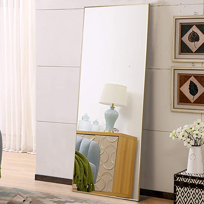 self Full Length Floor Mirror 47x16 Large Rectangle Wall Mirror Standing Hanging or Leaning Against Wall for Bedroom Black Dressing and Wall-Mounted Thin Frame Mirror