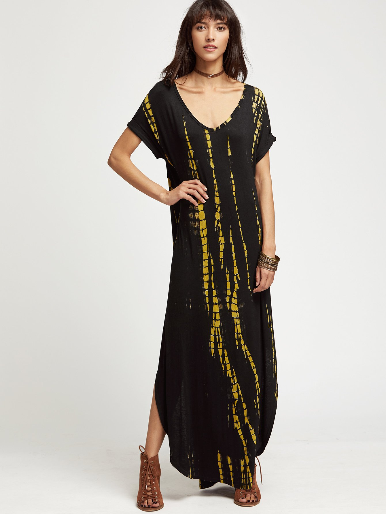 6f34c7c236c MakeMeChic Casual Maxi Short Sleeve Split Tie Dye Long Dress Black M ...