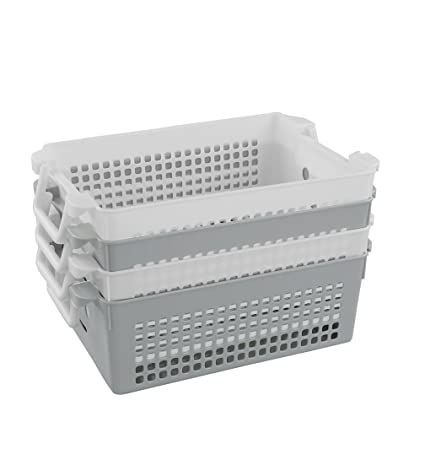 Doryh Stackable Plastic Storage Baskets/Bins Organizer With Handles, Set Of  4 (White