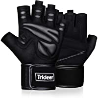 Trideer Padded Weight Lifting Gloves, Gym Gloves, Workout Gloves, Rowing Gloves, Exercise Gloves for Powerlifting…