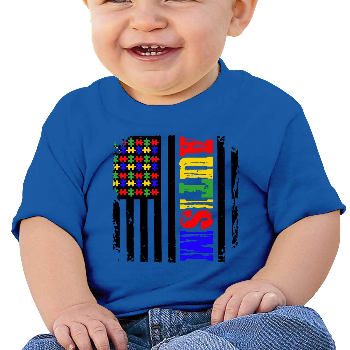 Autism Awareness American Flag1-1 Newborn Baby Short Sleeve Crewneck T Shirts 6-18 Month Tops