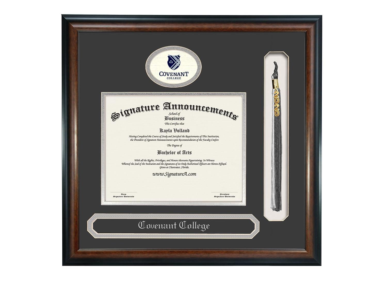 Sculpted Foil Seal Name /& Tassel Graduation Diploma Frame 20 x 20 Matte Mahogany Signature Announcements Covenant College Undergraduate