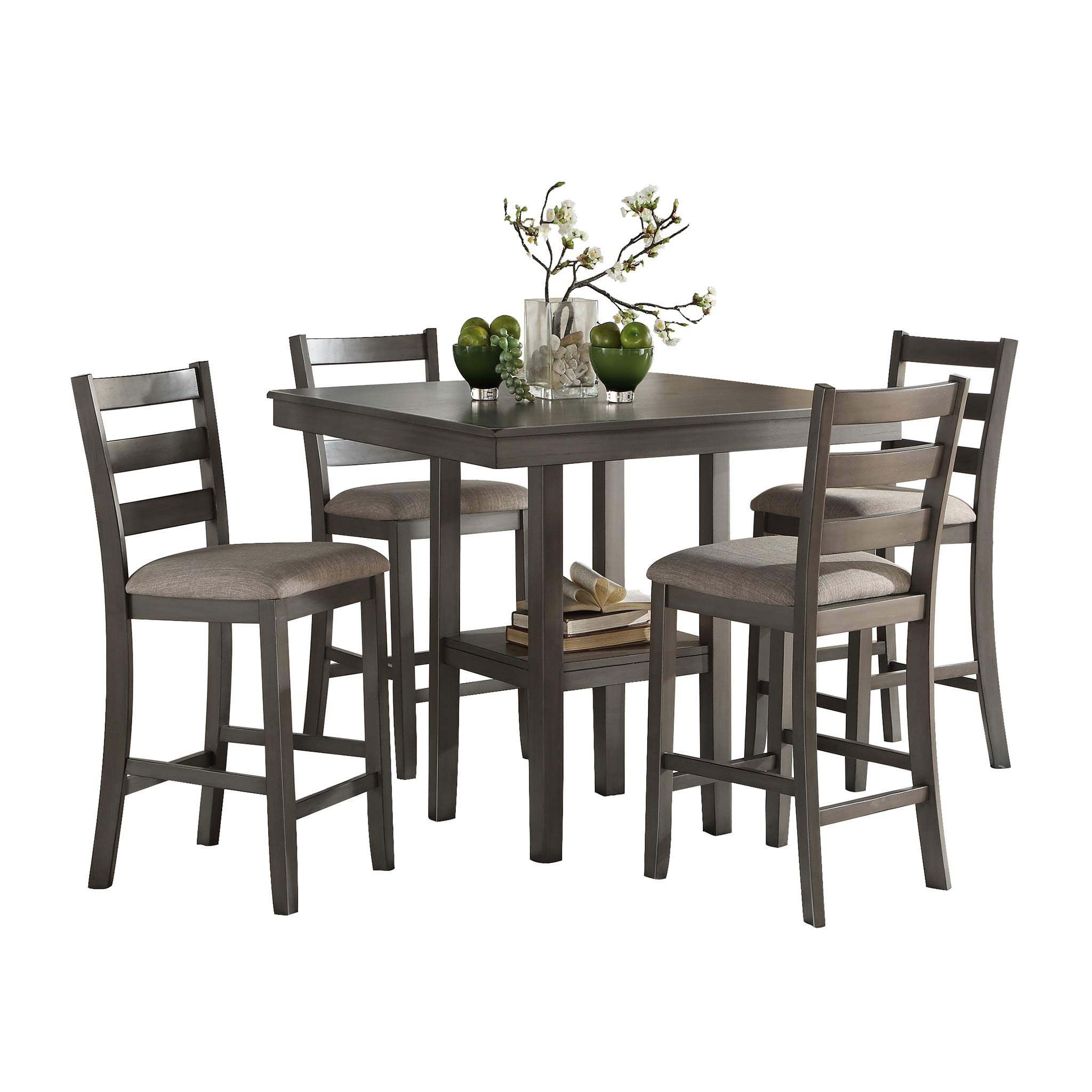 Homelegance Sharon 5-Piece Pack Counter Height Dinette Set, Gray
