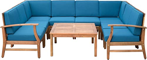 Lorelei Outdoor 8 Seater Teak Finished Acacia Wood Sectional Sofa and Table Set