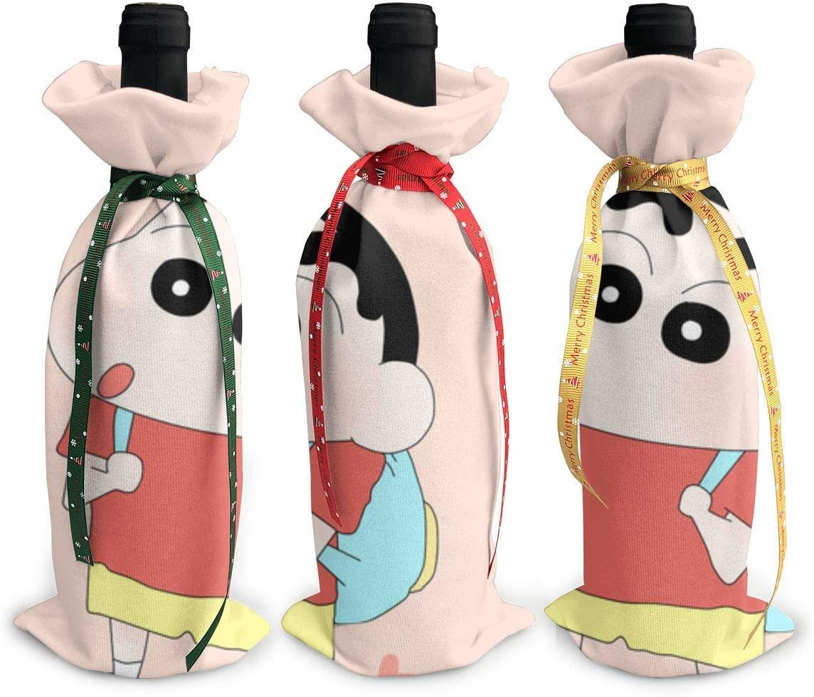 87718dwdsdwd Crayon Shin Chan Cute Cartoon Bag Christmas Red Wine Bottle Cover Bags Dinner Party Table Decor Xmas Gift Bag Champagne Holder Xmas Decor For Home Party Table Bar (3 Pcs): Amazon.es: