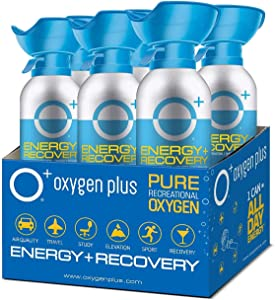 Oxygen Plus FDA-Registered Facility-Filled 99.5% Pure Recreational Oxygen Cans - O+ Biggi 6-Pack - Each Portable Oxygen Canister is 50+ Breaths, 11 litres - Restore Oxygen Levels w/Canned Oxygen