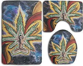 HOMESTORES 3 Piece Bathroom Rug Set - Beauty Green Psychedelic Marijuana Weed Leaf Skidproof Toilet Bath Rug Mat U Shape Contour Lid Cover for Shower Spa