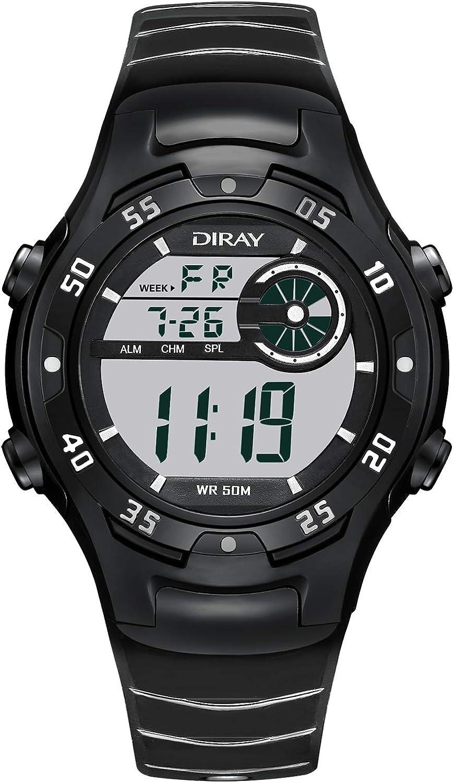 DIRAY Men's Outdoor Sports Adventure Spirit Analog Digital Electronic Strap Alarm Clock Night Vision Multi-Function Watch Leather Strap
