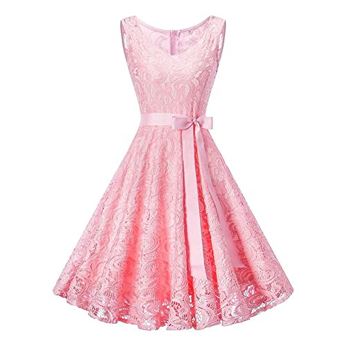 iBaste Womens Slim Fit Vintage 1950S A Line Cocktail Party Wedding Evening Lace Swing Dress