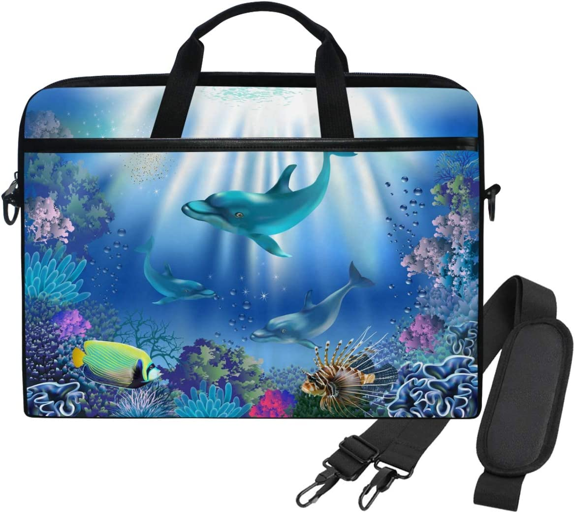 WIHVE 14 Inch Laptop Case Dolphin Underwater World Laptop Shoulder Bag Carrying Case with Strap for Women and Men